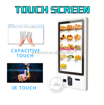 32 inch self service vending kiosk with queue ticket printer and QR code reader