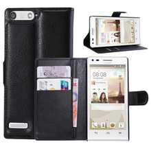 Litchi PU Card Holder Wallet Flip Leather Case For Huawei Ascend P7 Mini