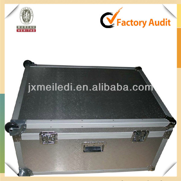 MLD-FC377 High-quality Silver Rolling Professional Aluminum DJ ATA LED Flight Case For Speaker