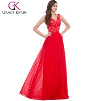Grace Karin 2016 New Arrival Deep V-Neck Chiffon Sleeveless Free Pattern Evening Dresses in Red CL6265-1