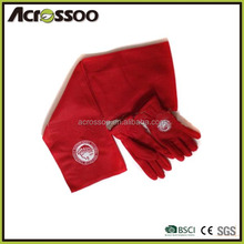 Red polyester polar fleece scarf gloves set, embroidered fleece gloves scarf