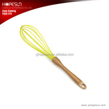 Heat resistant food grade silicone egg wisk with wooden handle