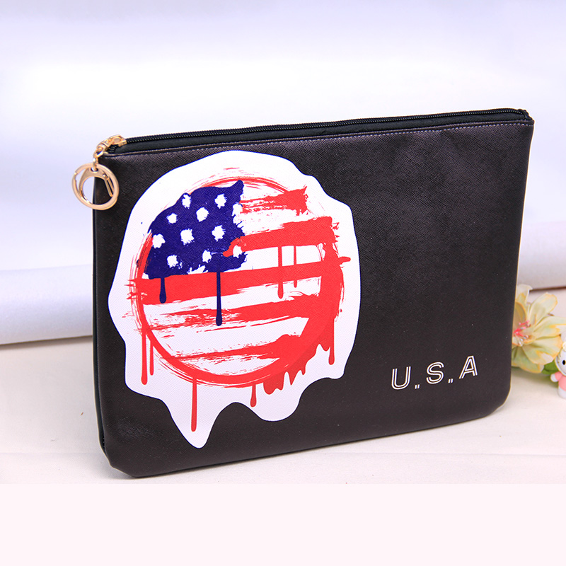 Men/Woman USA Flag Print Leather Document with Fashion Style