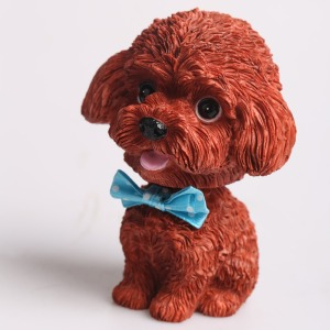 Hot sale car decoration cute shaking head poodle dog statue resin figure