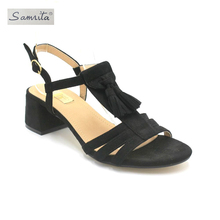 Latest new design reasonable price women tassels wholesale beach sandal shoes