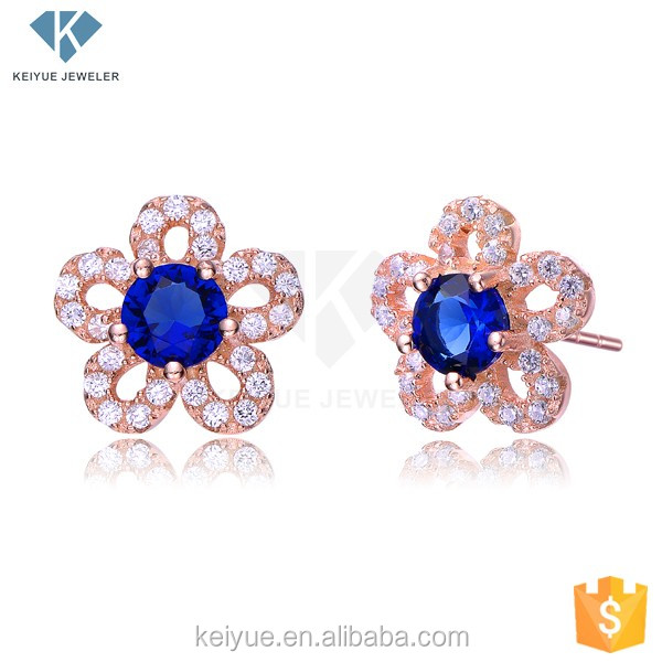 Sapphire decorating, initial flower shape dubai gold jewelry earring for girls