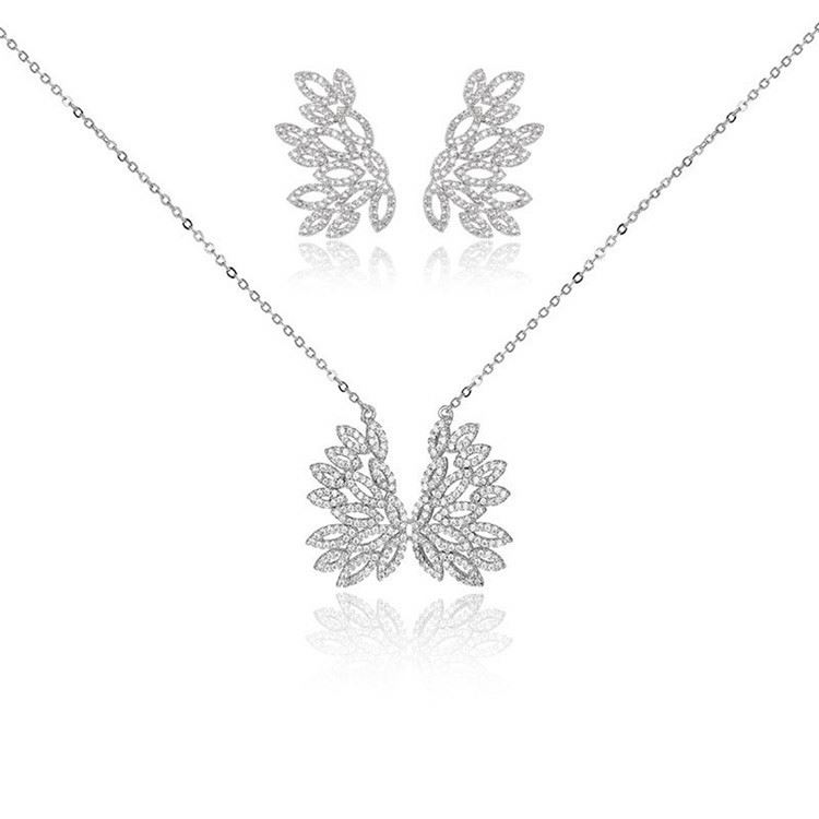 2017 Excellent quality personalized elegant bridal jewellery sets wings shape pendant big ear stud