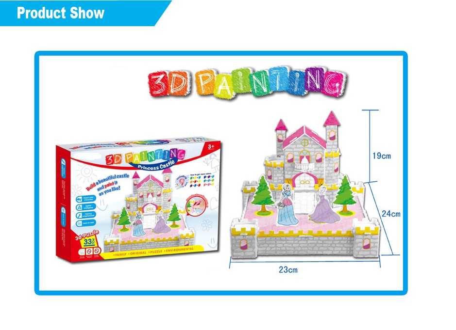 2016 hot selling kids toy 3D Princess Castle painting toy