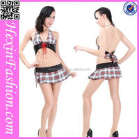 wholesale sexy bra and short skirt adult sexy costume sex school girl uniform
