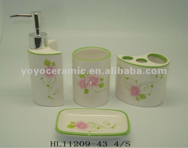 4 unids porcelana ba o set cepillo de dientes jabonera for Porta jabonera para bano