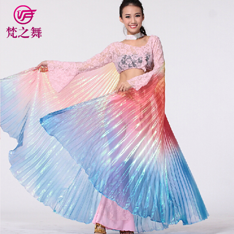 P-9071 American hot sale translucent gradient color adult 360 degree belly dance isis wings