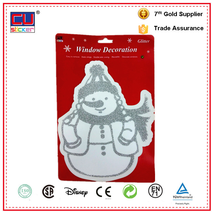Double sided seeing silvery snowman glitter Christmas window stickers