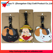 Black leather belt strap travel bright color bag tag colorful animal shaped silicone luggage tag