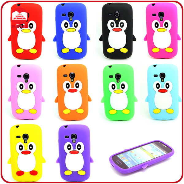 High Quality Penguin Style Silione Gel Cartoon Protector Soft Case for Samsung Galaxy S3 Mini