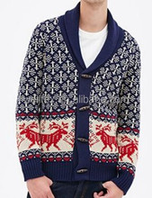 Men's tribal-inspired shawl collar cardigan