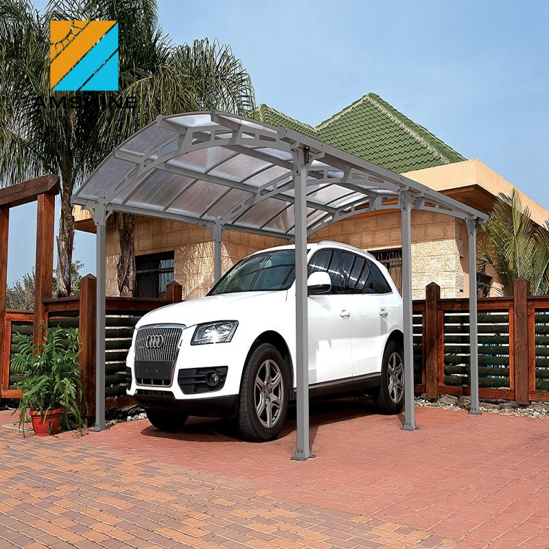Metal frame single car carport with plastic roof