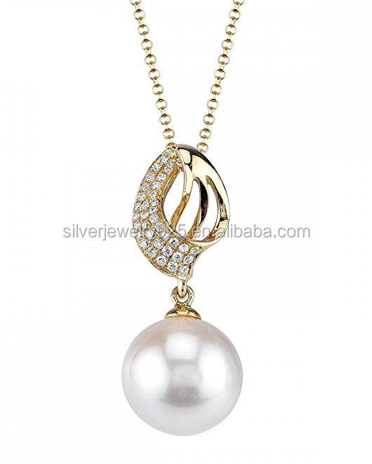 18K Gold Akoya Cultured Pearl & Diamond Adele Pendant Necklace