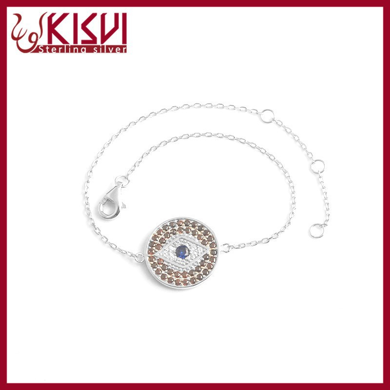 6+1inch sterling silver eye bracelet Fashion jewelry Design rhodium Bracelet kisvi silver factory