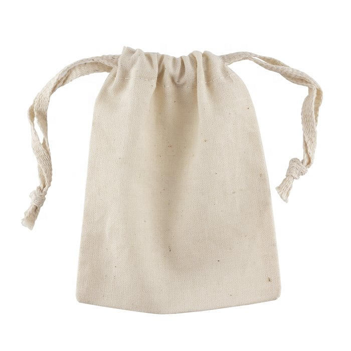 custom natural cotton canvas fabric drawstring muslin pouch bag
