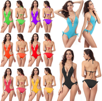 Sexy Women's One Piece Swimsuit V Neck Bikini Swimwear Bathing Bikini Jumpsuit