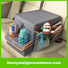 Back Seat Organizer with Snack & Play Tray Kids Car Seat Cooler
