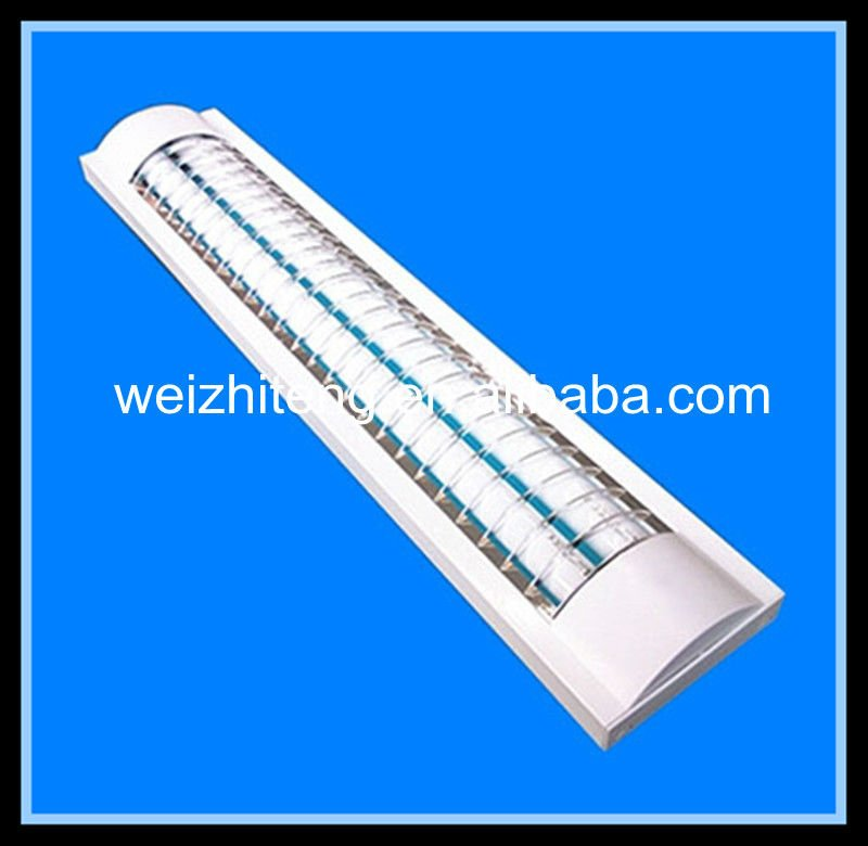 T8 double tube kitchen fluorescent light fixtures,zhongshan guzhen T8 fluorescent light fixture with grid cover