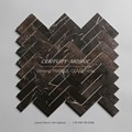 1 x 3 Herringbone Brown Marble Mosaic Wall Tiles for Bathroom Wall