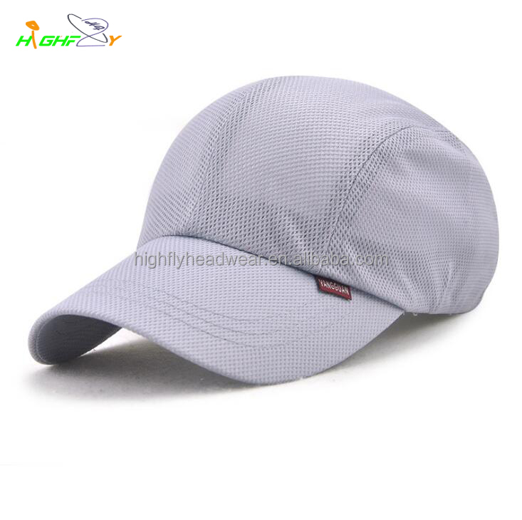 Grey colour Dry Fit Mesh Running Hats Racing Sport Breathable baseball cap