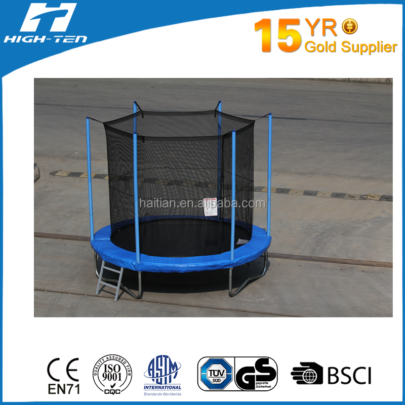 8ft outdoor blue trampoline with safty net inside