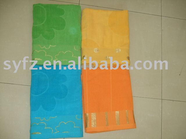 100%cotton reactive printed velour jacquard embroidery bath towel