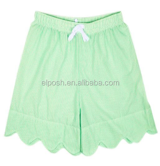 Lady Summer Beach Loose Lace Up Monogram Scalloped Seersucker Shorts