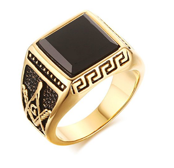 Fashion Stainless Steel Gold Plated Square Agate Vintage Signet Rings with Masonic Symbol for Men