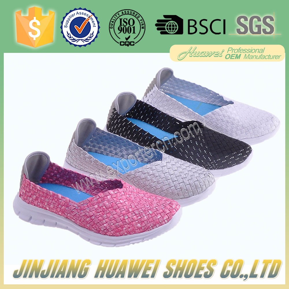 china factory women woven weave shoes elastic belt hand knit shoes handmade woven elastic shoes