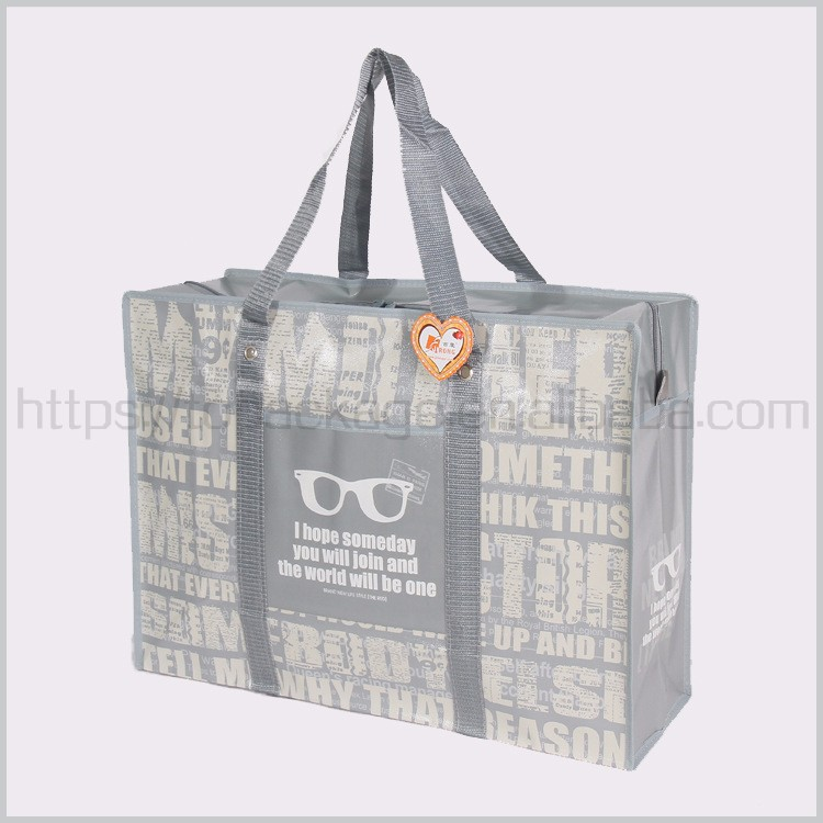Large pp non woven shopping bag with zipper