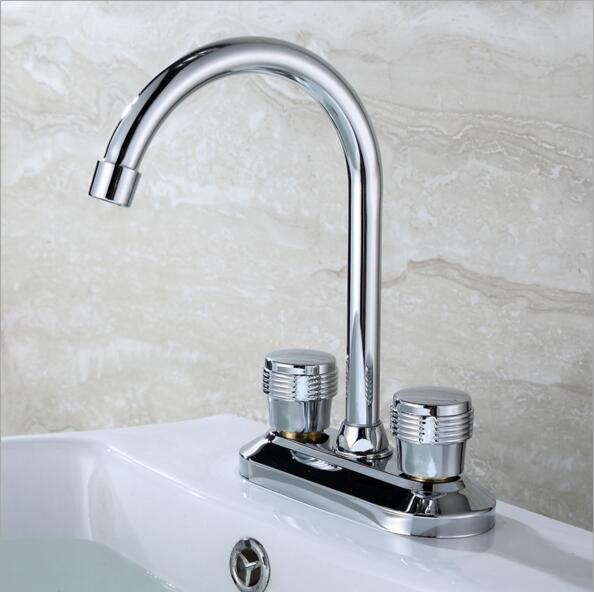 bathroom kitchen sink cheap double hot and cold water alloy brass faucet