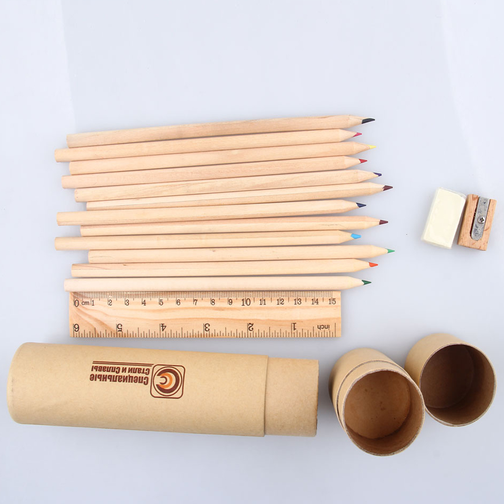 natural wood color pencil in paper tube