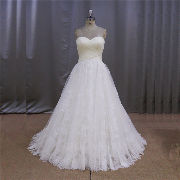 Korean style embellishments corset high low wedding gown