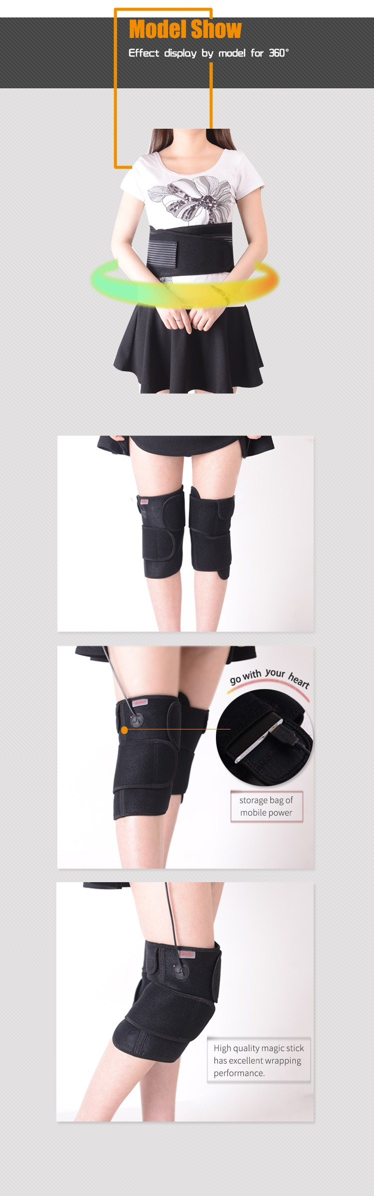 healthcare rechargeable electric heating knee pad with USB port