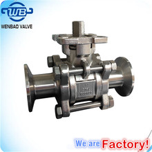 Clamped end 3PC sanitary ball valve with iso 5211 direct mounting pad