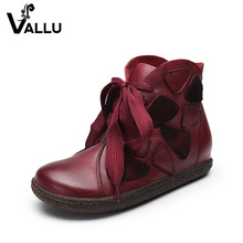 factory genuine leather high increasing ladies casual shoes lace up girl ankle heel boots women