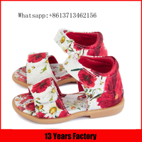 2016 new style fancy beatiful flower printing fabric material flat skidprooflittle girls kids gladiator sandals