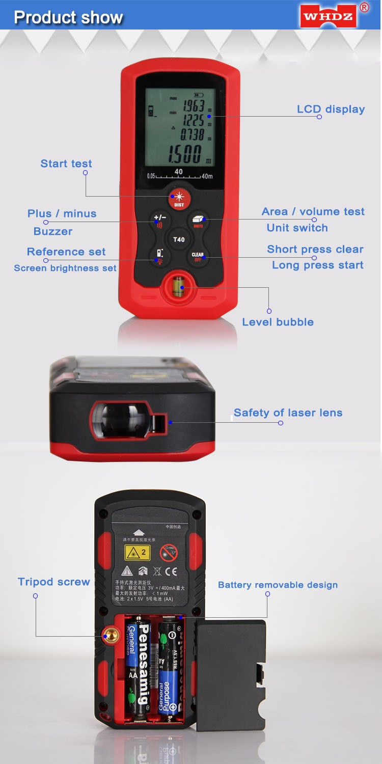 digital laser distance meter LDM40D with Bubble Level measure Area/Volume Tool