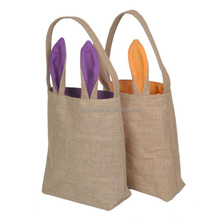 Cute Easter Bunny Rabbit Ears Jute Shopping Tote Bag, Jute Bag For Easter Party New Year Decorations