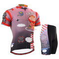 2015 spring hot sell wholesale cycling clothing red design custom cartoon cycling jersey