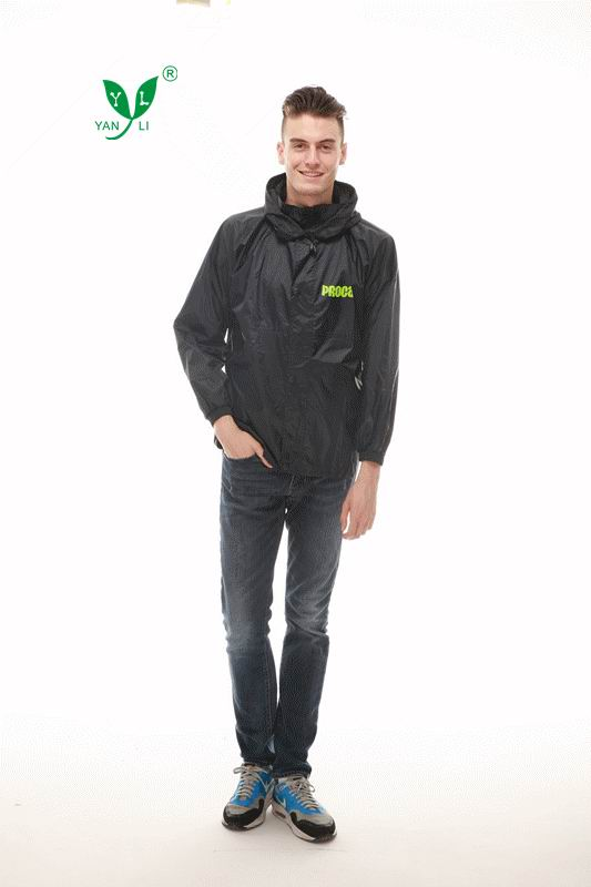 2016 cheap attached hood rain coat jacket with logo