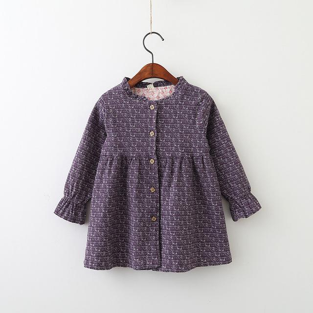 QX1864 2017 autumn outfit new baby bubble long sleeve button cartoon cat dress