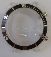 chic transparant watch parts plastic watch case rotating bezel cheap kids watch case