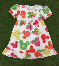 Children wear with puff sleeves girl's dress summer fall dress with fruits printed