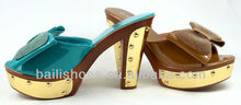 2014Top Fashion Bright Colorful Metal Studs High Heel Wedge Bow Sandal Shoes