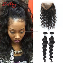 Hot Selling Natural Color Brazilian Deep Wave Pre Plucked 360 Lace Frontal Closure With 2 Bundles